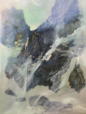"Recluse Studio No. 17, 2018,  Ink, Xuan Paper, Pigment and Resin on Aluminum, 16"" x 12"".  A glimpse of mountain view is partially covered by white and green thin clouds."