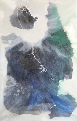 "Recluse Studio No. 2, 2018,  Ink, Xuan Paper, Pigment and Resin on Plexi, 17"" x 11"".  A glimpse of mountain view is partially covered by white, green and blue thin clouds."
