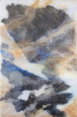 "Recluse Studio No. 18 (sold),  2018, Ink, Xuan Paper, Pigment and Resin on Plexi, 17"" x 11"".  A glimpse of mountain view is partially covered by white and tan thin clouds."