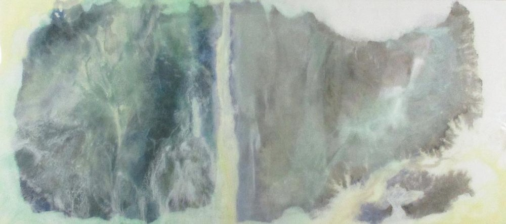 "9-8-18,  Ink, Xuan Paper, Pigment and Resin on Panel, 25"" x 56"".  Abstraction of mountain view in black and green with waterfall running down the middle."