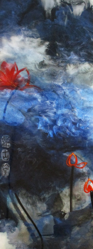 "Fisherman's Song No.3, Ink, Xuan Paper, Pigment and Resin on Panel, 54"" x 20"".  This is an abstraction of a lake in black, blue and white, with three red lotuses."
