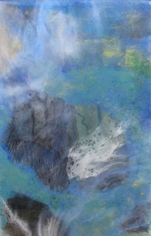 "Recluse Studio No. 20, 2018,  Ink, Xuan Paper, Pigment and Resin on Plexi, 18 1/4"" x 12"".  A glimpse of mountain view peeks through the dominating blue and green clouds."