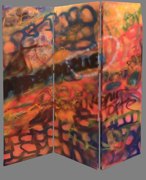 Now and Then, 2018, Oil/Spraypaint on canvas.  3 panels of Graffiti-like landscape based abstraction painting. Brown, yellow, black, blue spray-paint in pink and orange background.