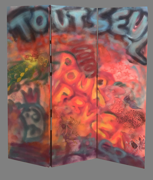 """Dreaming, 2018, Oil/Spraypaint on canvas, 68""""x 54"""".  3 panels of graffiti-like abstraction painting. Letters and marks in blue, yellow, pink, red in pink background."""