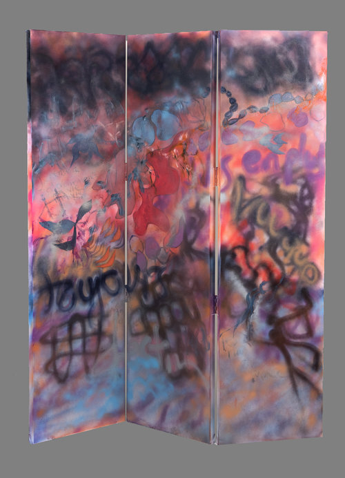 """Journey, 2017, Oil/Spraypaint on canvas, 68""""x 54"""" (SOLD).  3 panels of graffiti-like abstraction painting. Purple, black, blue, yellow spray-paint on pink and blue background."""