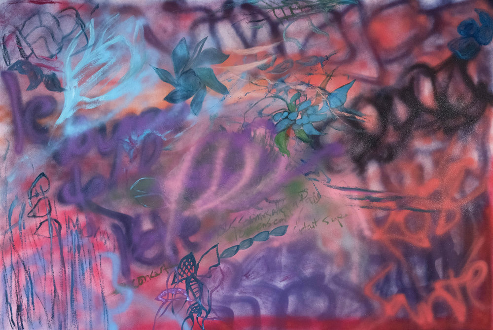 """Making Memories, 2018, Oil/Spraypaint on canvas, 44""""x 60"""".  Graffiti-like abstraction painting. Purple, blue, black, pink spray-paint like strokes on pink background."""