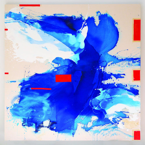 """Blue Crystals Revisited No.7 , 2017, Acrylic Ink, Acrylic Paint, Mica Powder, Painted Collage on Canvas, 72""""x72"""".  Splashed cloud-like forms of white and blue dominate a white canvas with seven red rectangular shapes throughout."""
