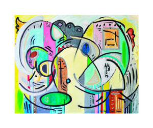 """Peace and Wonder (SOLD), Sumi Ink, Graphite, and Oil on Canvas, 48"""" x 60"""".  Colorful tones of grey, cream, green, pink and blue. Thick black curved lines. Multitude of intersecting freeform shapes."""