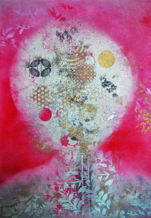 """Thinking, 2015, Oil based Ink on Mulberry paper Board Mount, 35"""" x 25"""" x 2"""".  Asian inspired abstraction with dominant white moon in the middle surrounded by red background and silver leaves on a gold foreground."""
