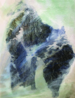 """Recluse Studio No. 16, 2018,  Ink, Xuan Paper, Pigment and Resin on Aluminum, 16"""" x 12"""".  A glimpse of mountain view is partially covered by white, green and blue thin clouds."""