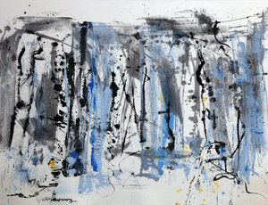 "Blue Horizon, 2018, Ink & Acrylic on Paper, 43"" x 57""."
