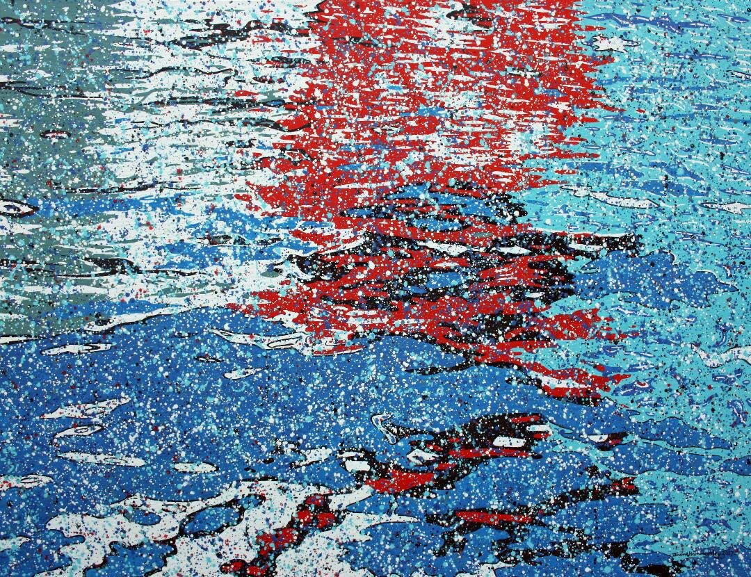 Water-based pointillistic abstraction painting with fragmented shapes and blue, red, green, black areas.