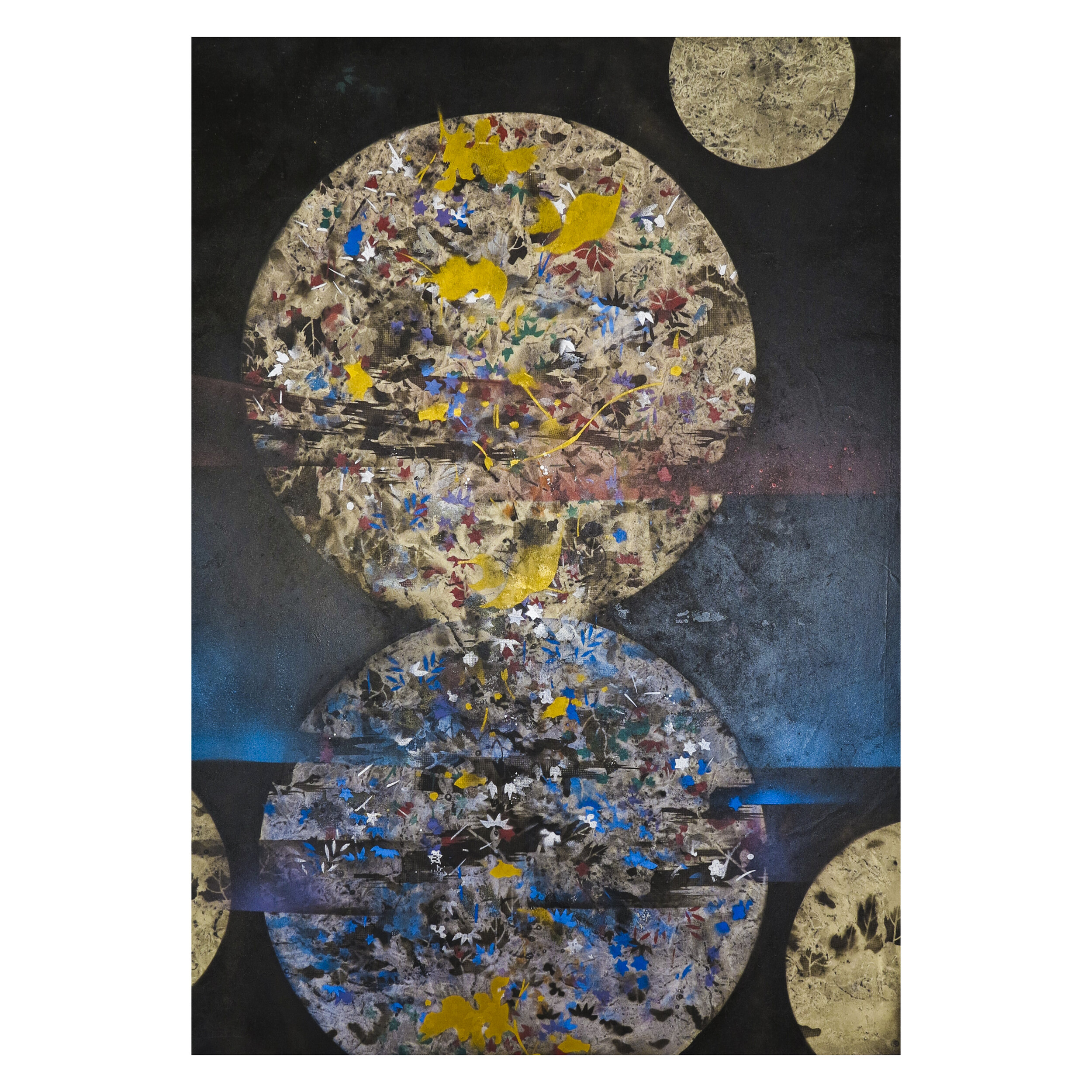Asian inspired abstraction with dominant two circles in the middle surrounded by black background and blue, yellow color covered on the top