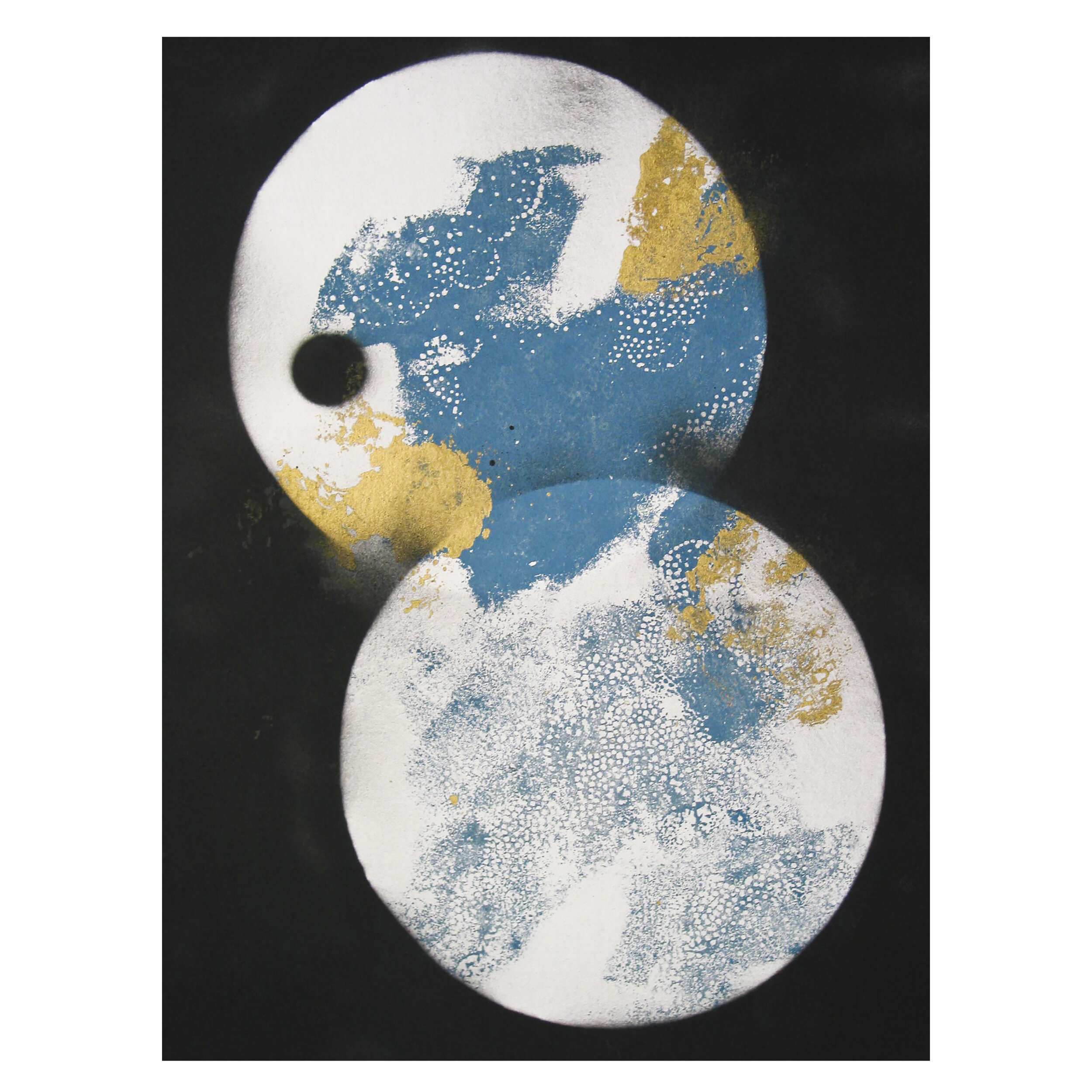 Asian inspired abstraction with dominant two circles in the middle covered by yellow and blue color and clouds, with the dark background at back