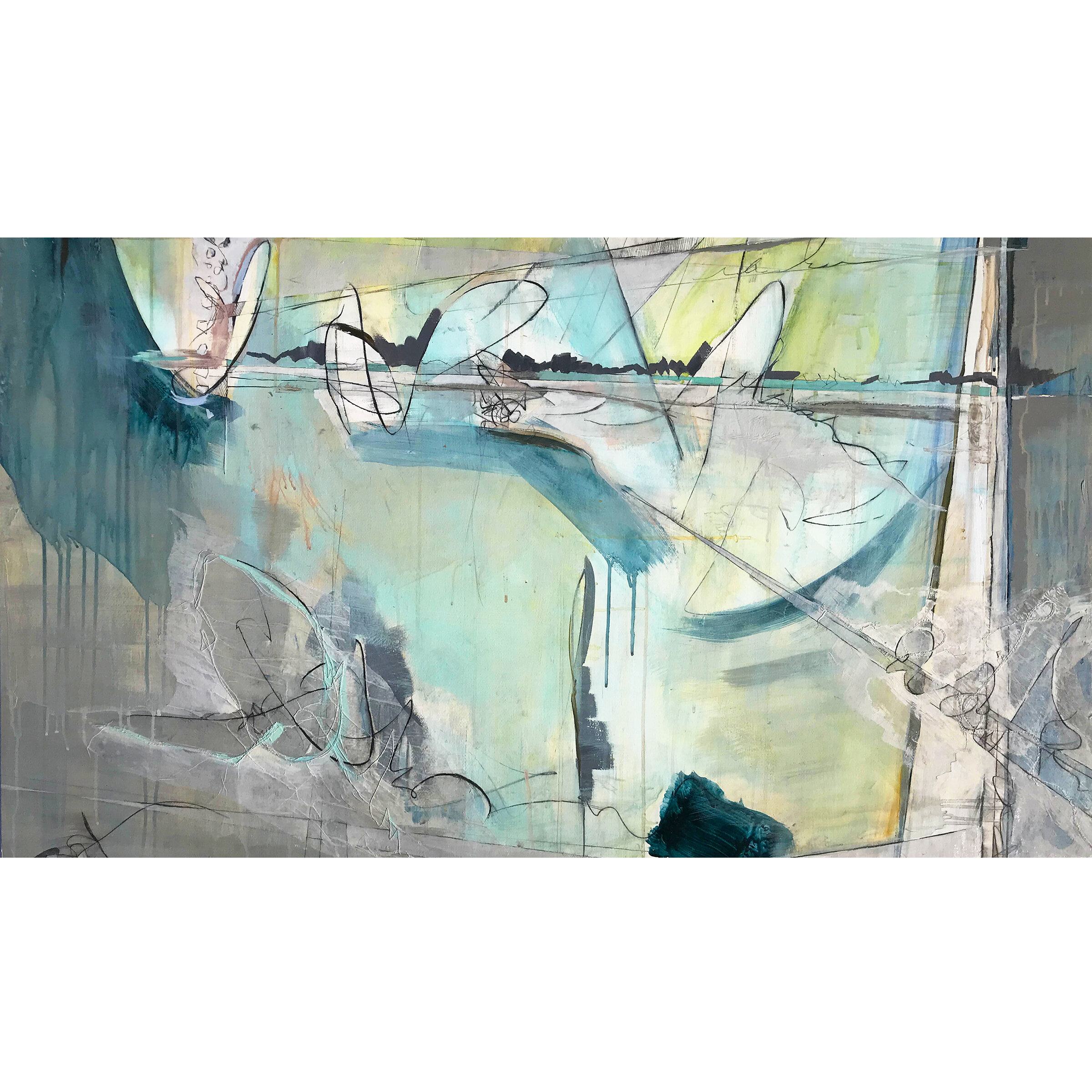 Abstract painting and sewing dominated blue, green and gray color with lines sewed on the tracing paper