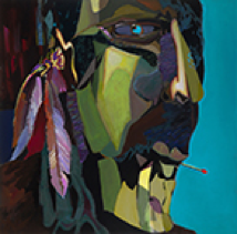 Abstract portraiture of a man smoking a cigarette. Green, yellow, purple on the face and hair, with blue color at the background.