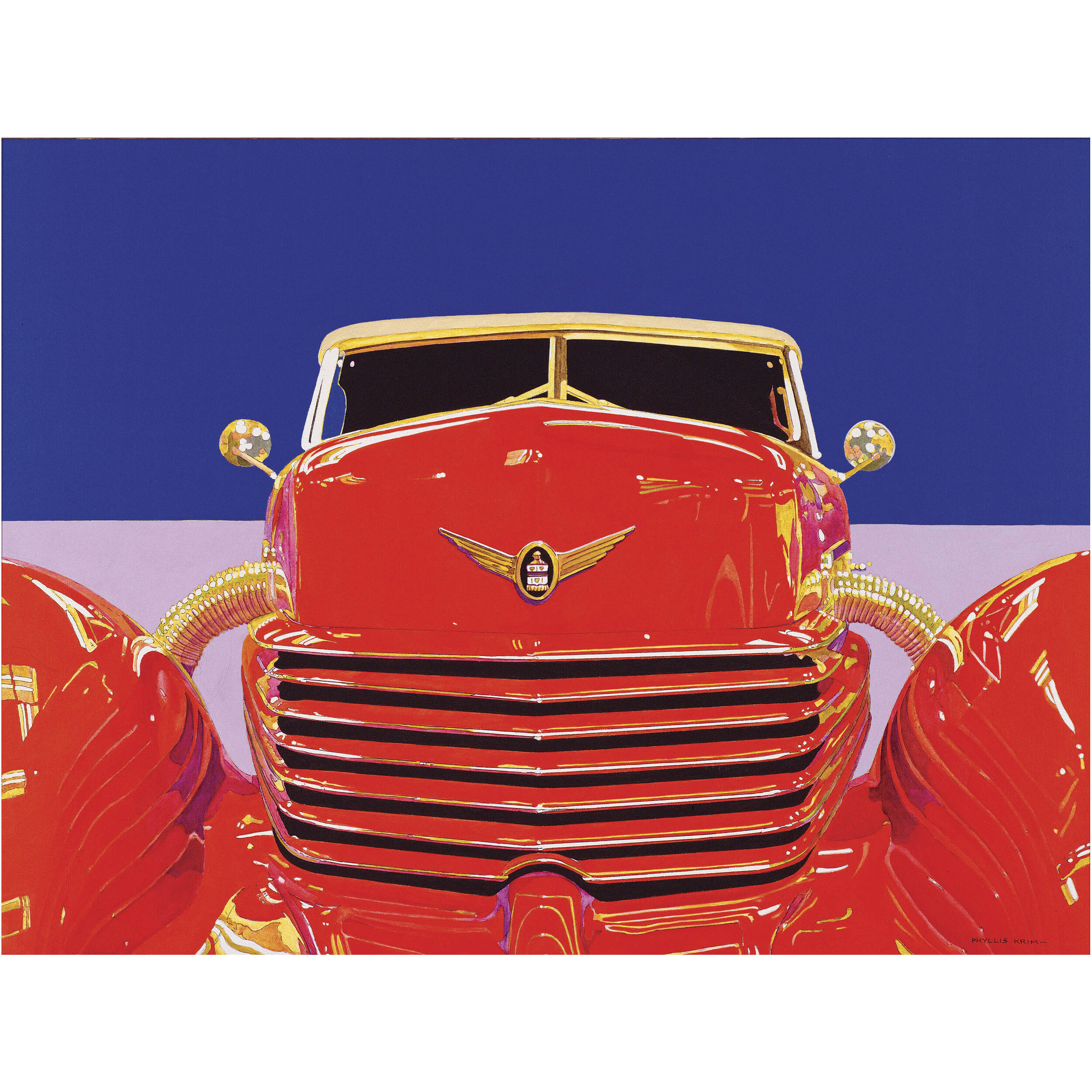 Dominated by the red cord car in the center cover the background that with light navy on the top and light purple color at the bottom