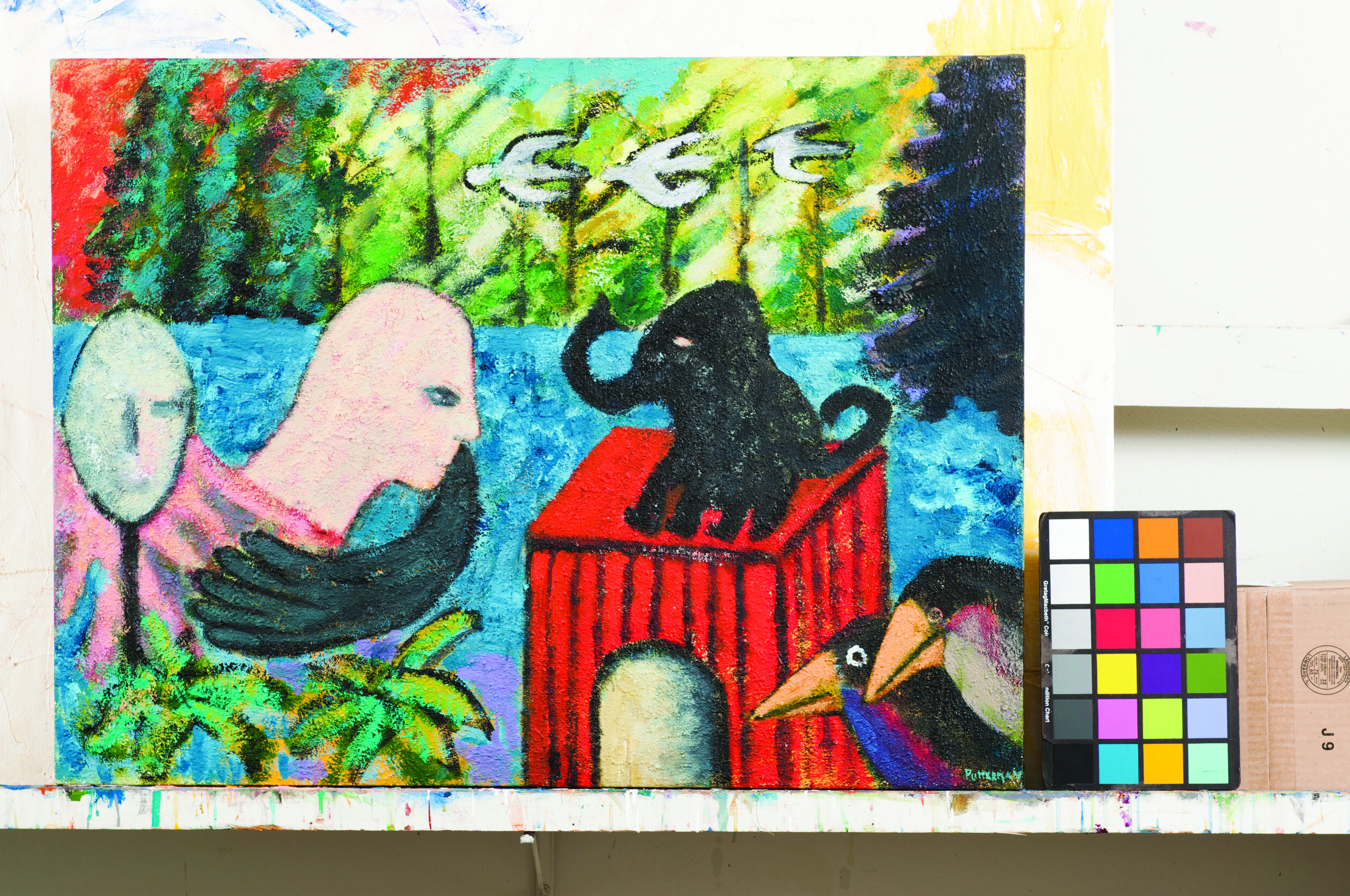 Abstract painting dominated with a human figure on the left side approaching to the black elephant on the right side, with the background of nature.