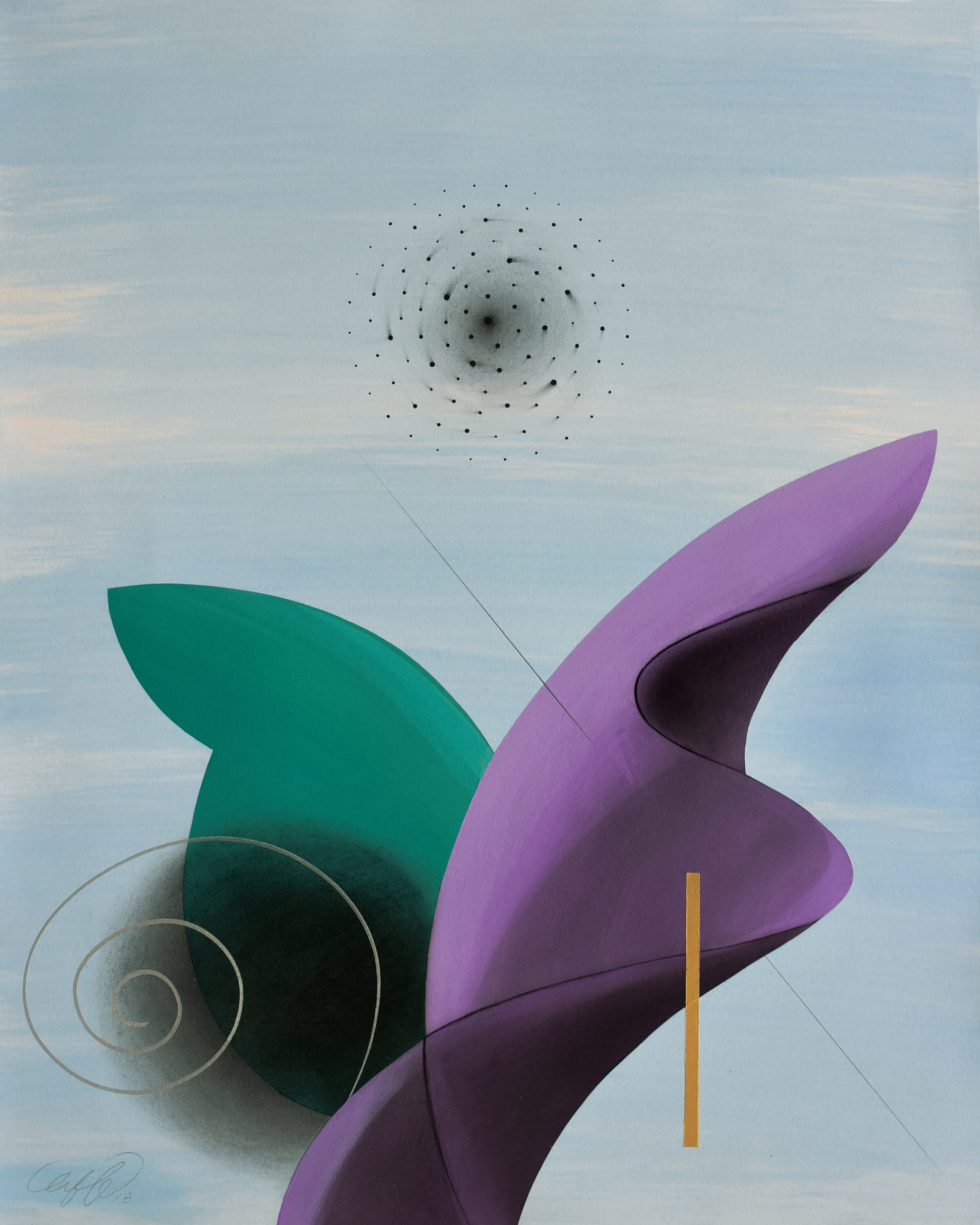 Abstract painting with simplified organic shapes in green, purple and black on gray background.