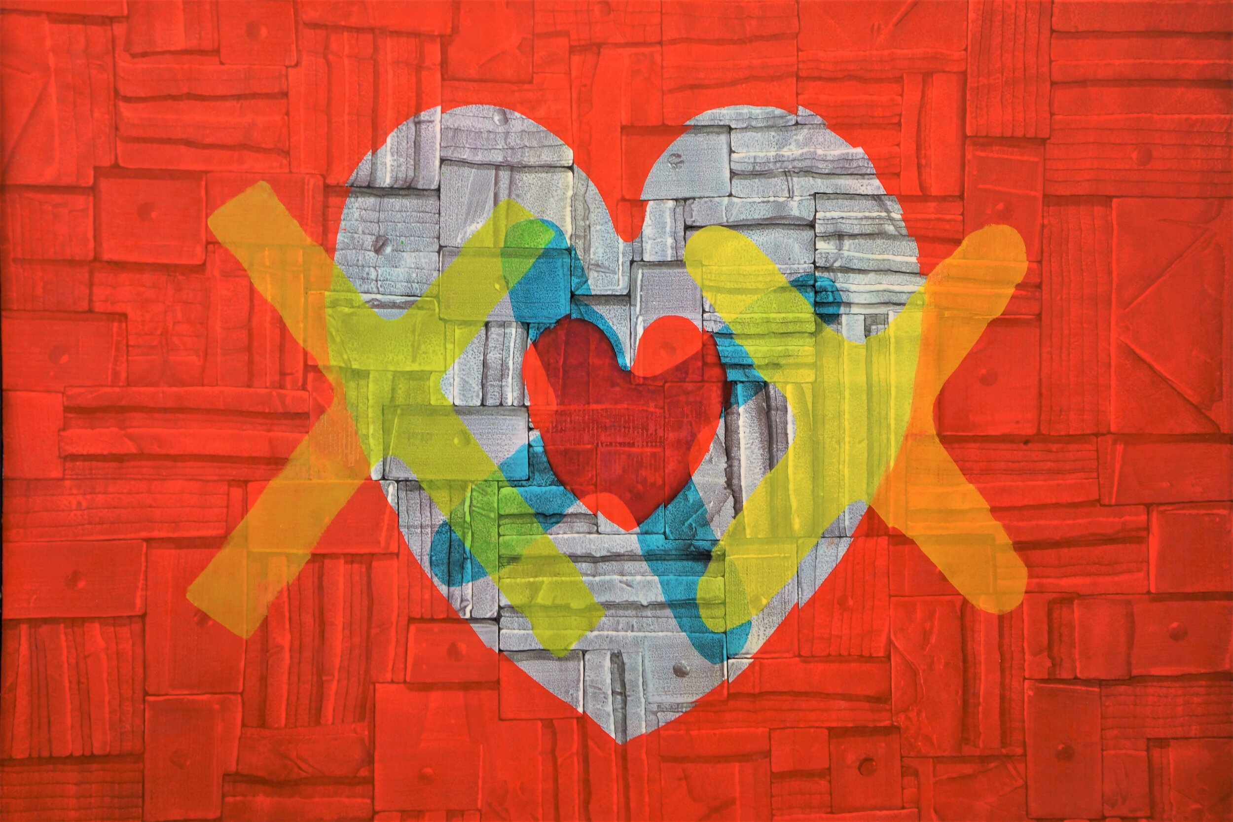 """Abstract painting with dominated gray color heart in the middle, which has a red color heart in the middle covered by a blue color """"X"""", the painting with the red color background is also covered by two yellow """"X"""" on each side."""