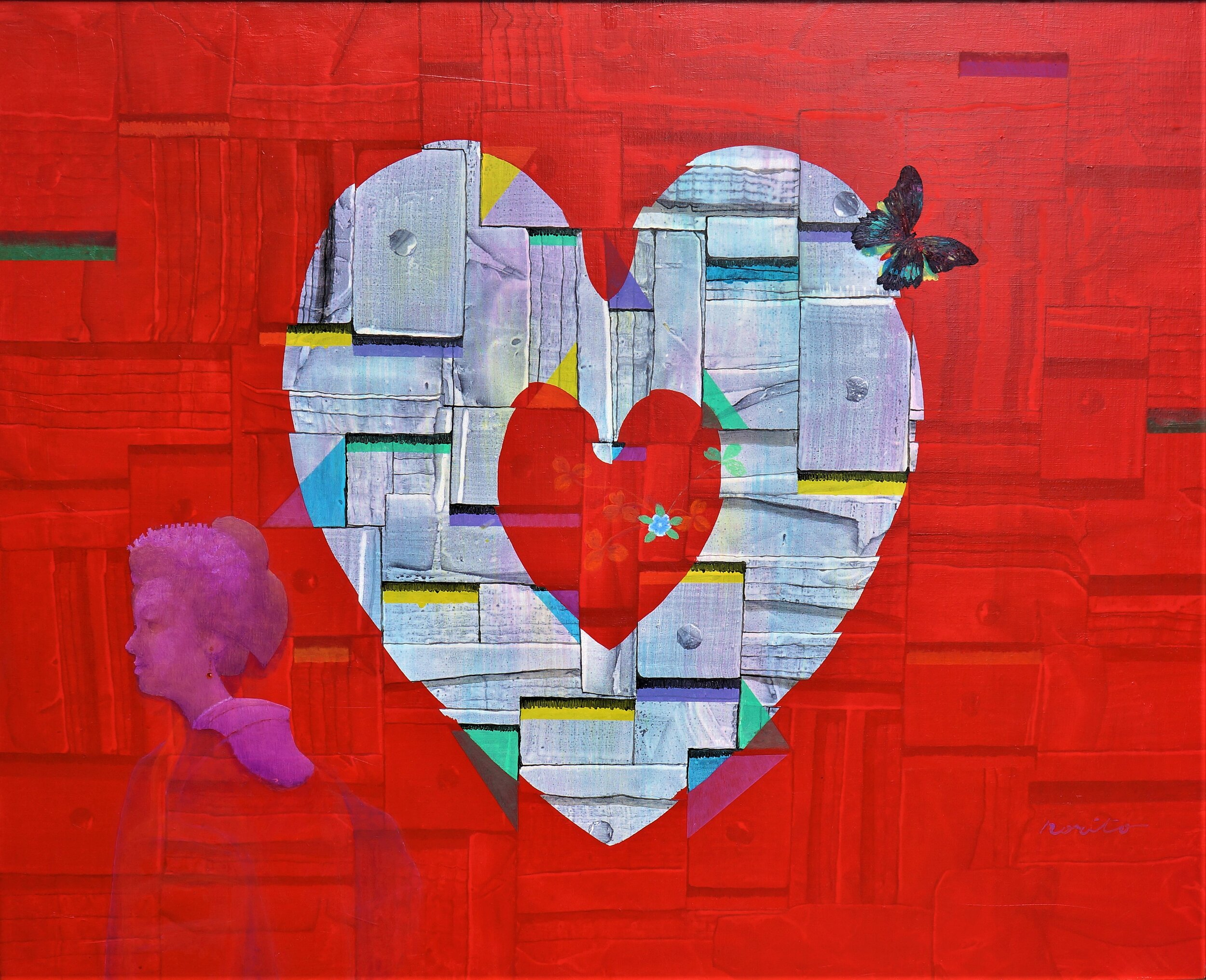 Abstract painting with dominated heart shapes in the middle on the red background.