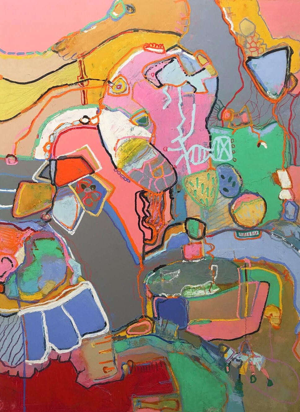 Abstract painting dominated with multi colors and lines, blue, green pink, blush, yellow, brown.