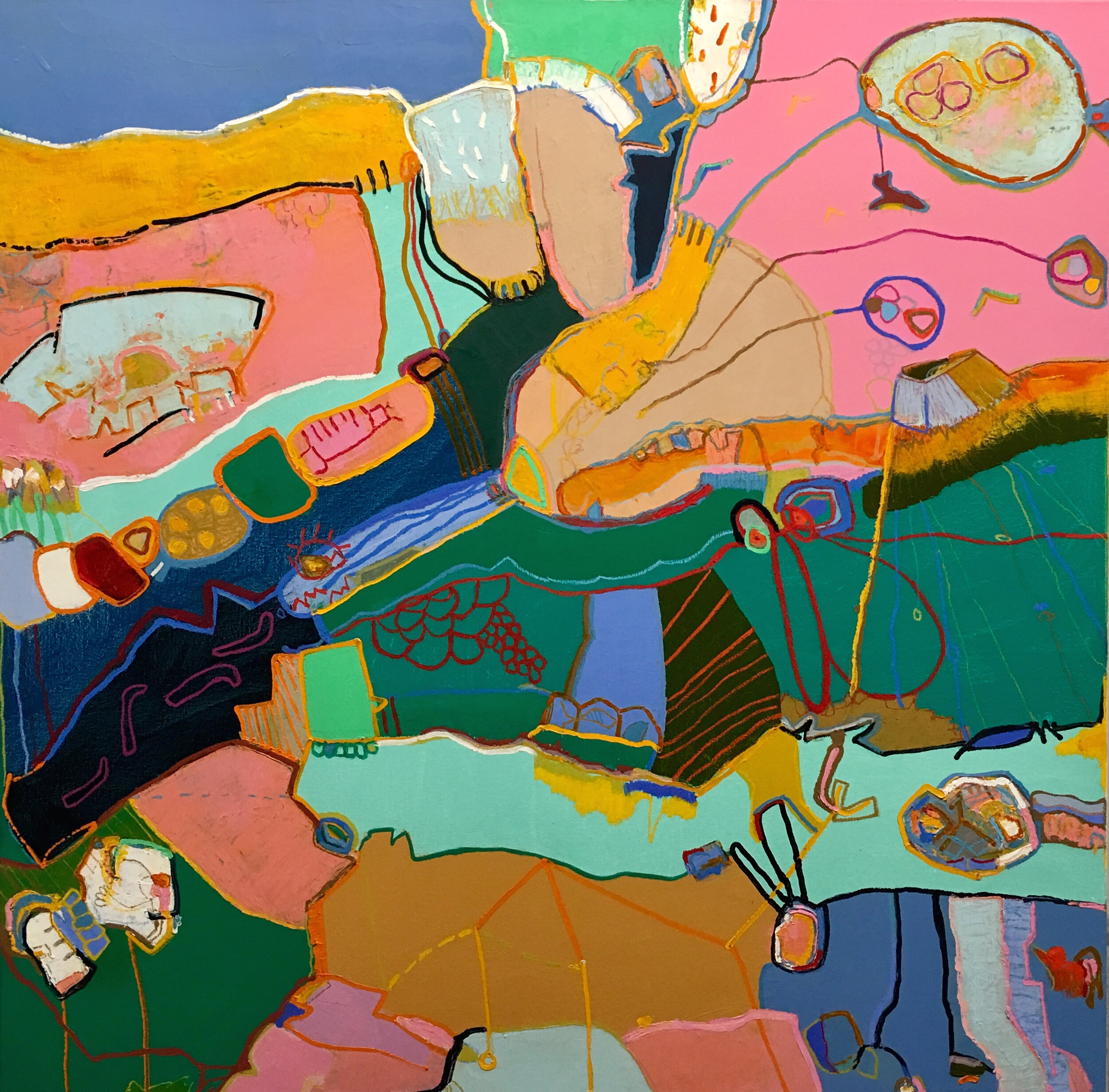 Abstract painting dominated with multi colors and lines, blue, green pink, yellow, brown.