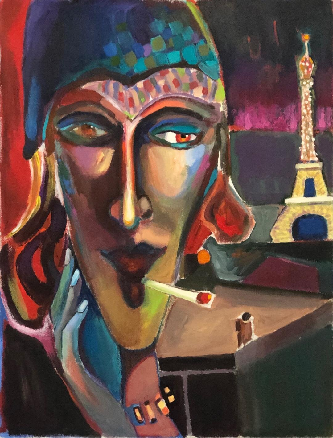 Abstract portraiture of a Parisian woman smoking a cigarette. Blue, red, yellow on the face and the Eiffel tower on purple background.