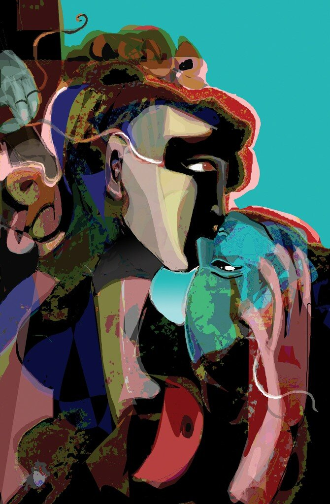 Abstract portraitures of two people kissing. Triangular shapes on hair, face and body. Blue, yellow, red, green shapes on turquoise background.