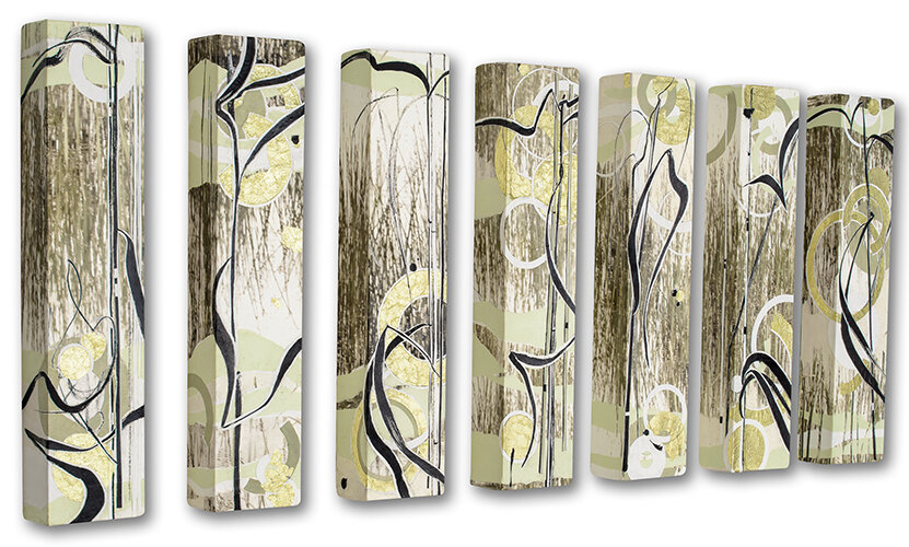 7 panels of abstract photography and drawing based on marsh grasses.