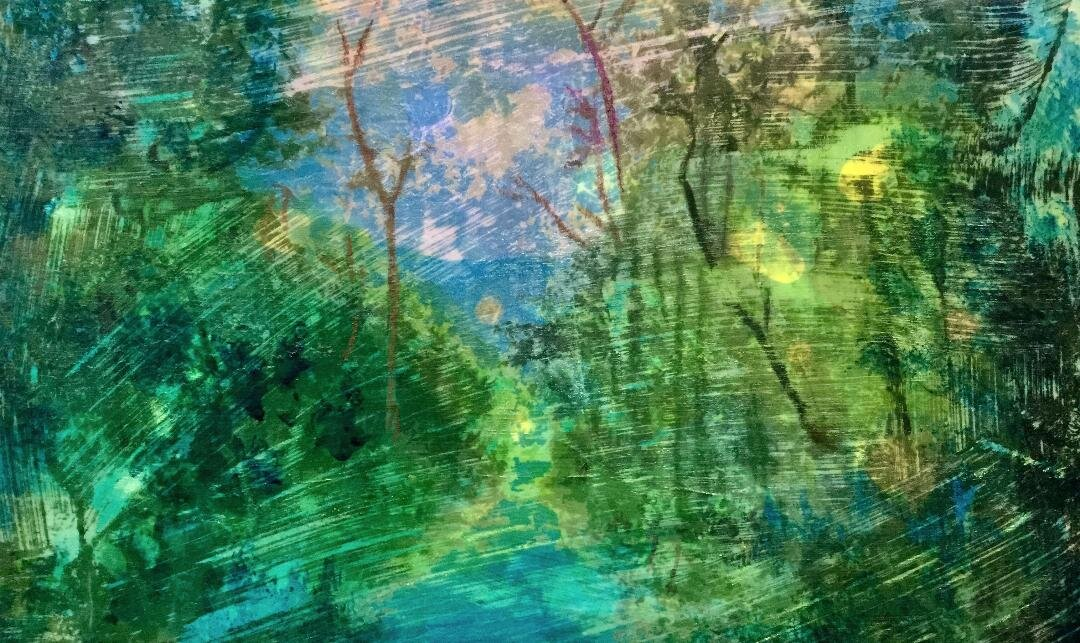 Abstract drawing of the forest dominated with green yellow and blue