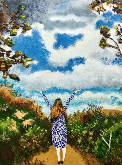 Painting of the female standing in the middle with arms up holding the sky with sky, solid and trees on each sides