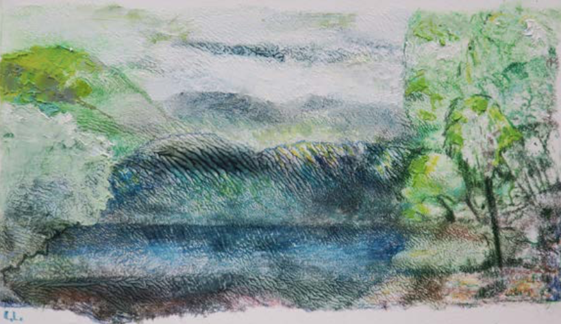 Abstract drawing of the lake scene dominated with green, blue