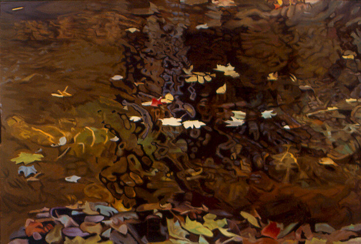 Monochromatic reflected stream pool in brown with shimmering leaves reflections in green, yellow, white and red