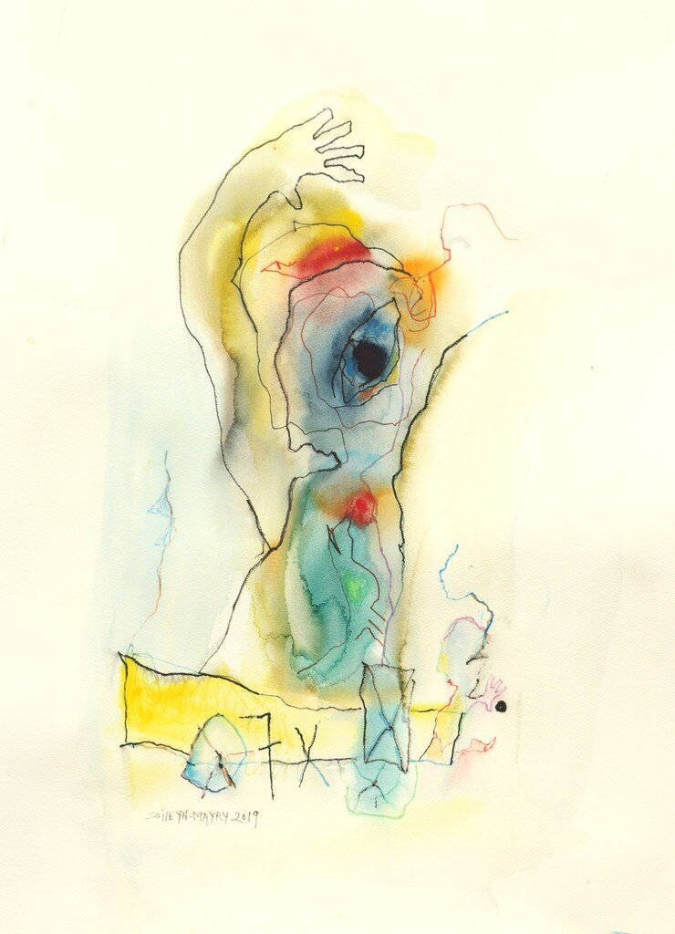 Abstract watercolor drawing of a women portrait, dominated with green, yellow, red