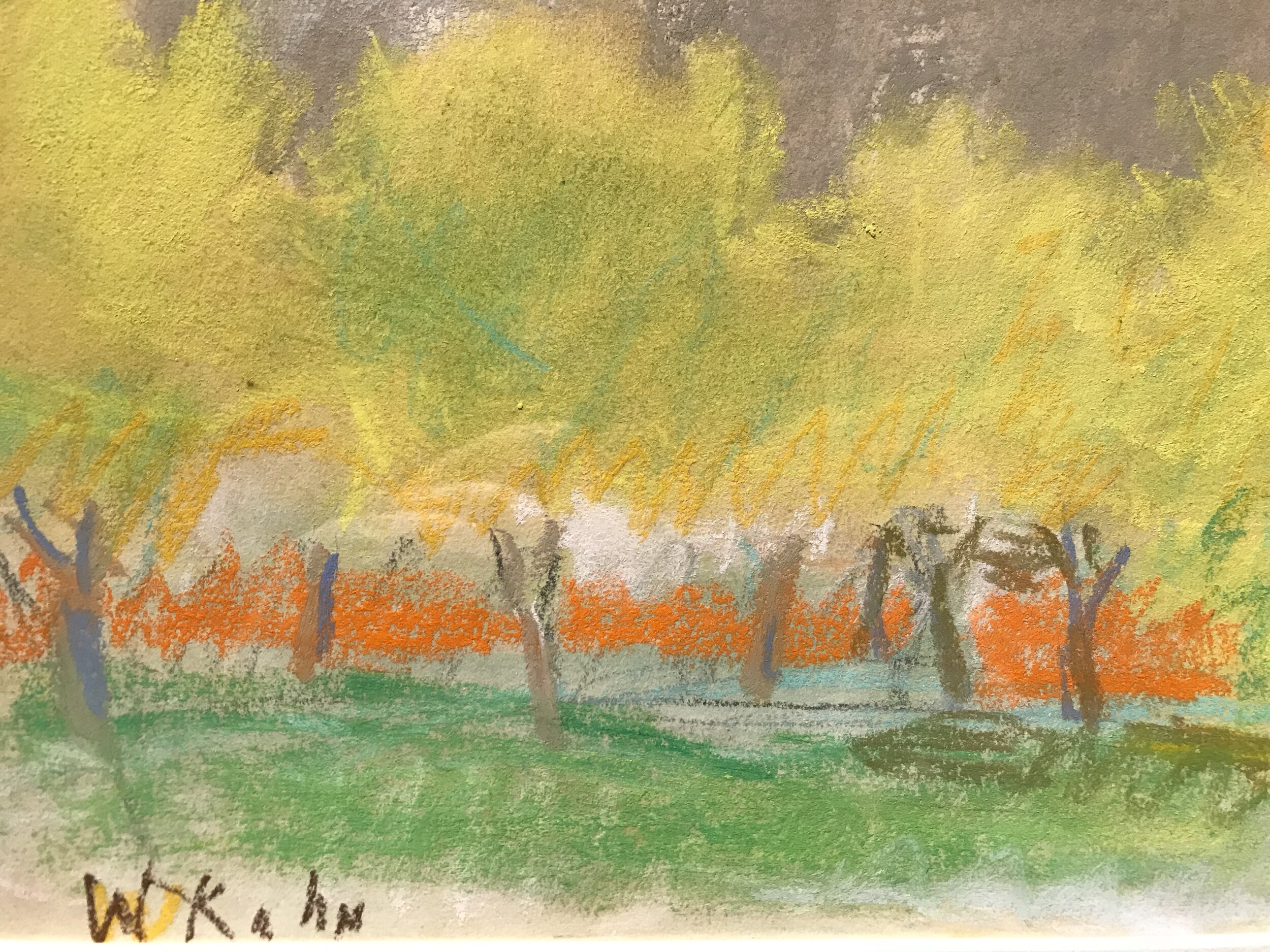 pastel treescape with green and orange foreground, yellow trees and gray sky