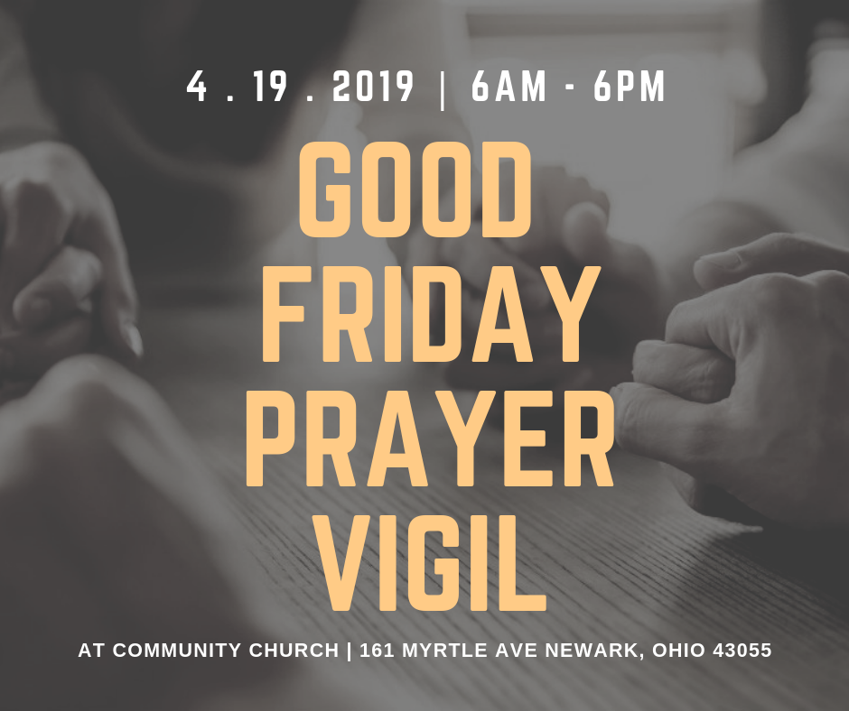Purpose: To Focus on What Easter REALLY is about. Come and prepare your heart and mind as we focus on the Cross of our Savior. No need to sign up. Come when you have 20 minutes to an hour to spend in prayer and meditation. If you have questions, email Pastor Craig Burdick at  PastorCraig@cwcnewark.org