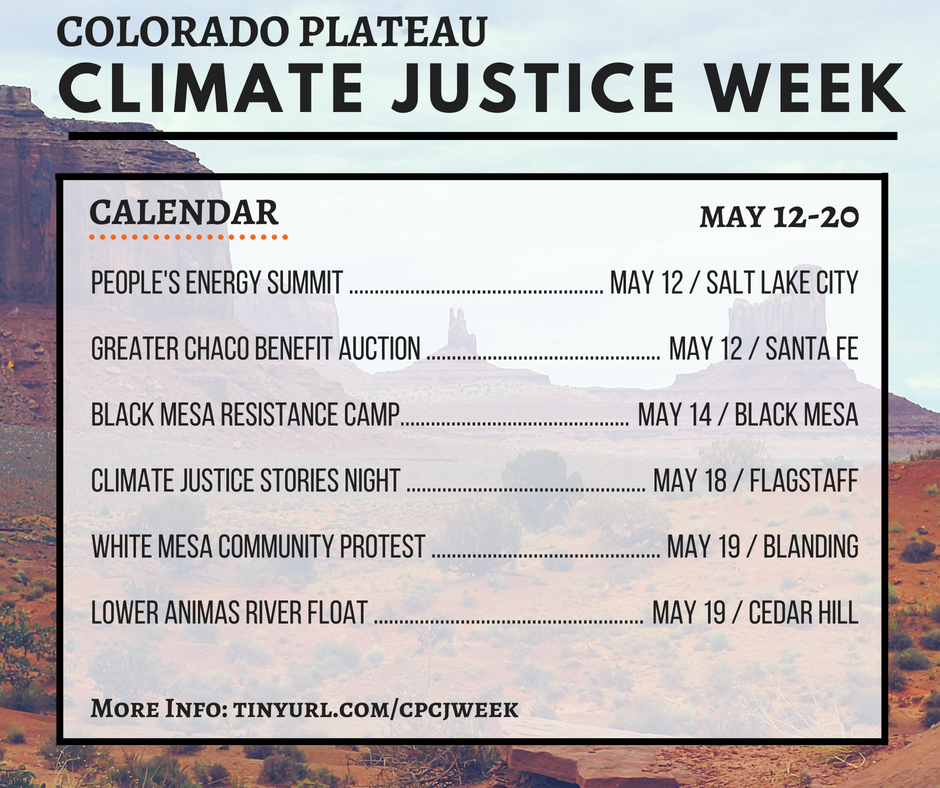 The calendar of events for Colorado Plateau Climate Justice Week.