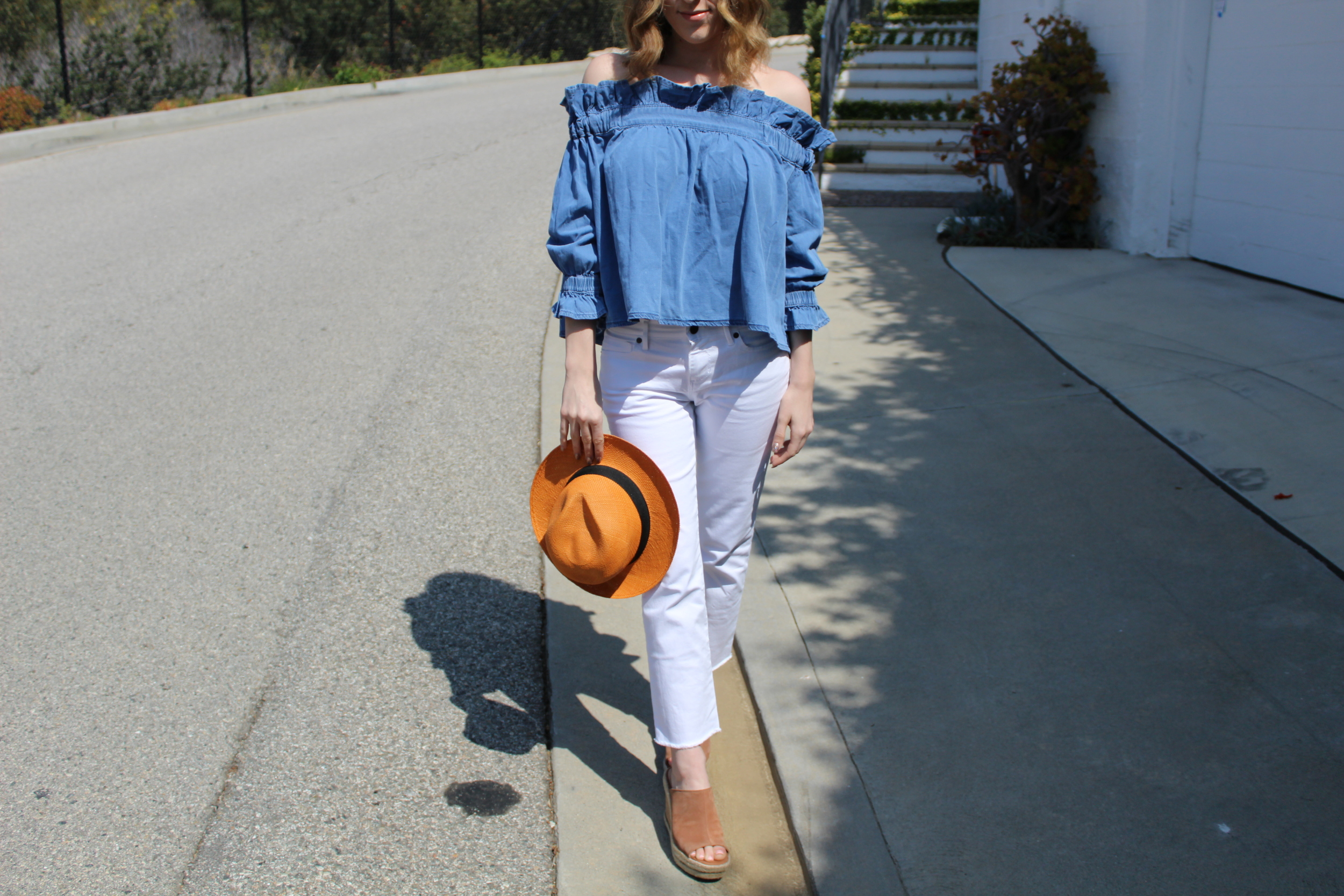 Don't forget to add a cute panama hat like this orange one which I actually did get in Panama, to complete your look!