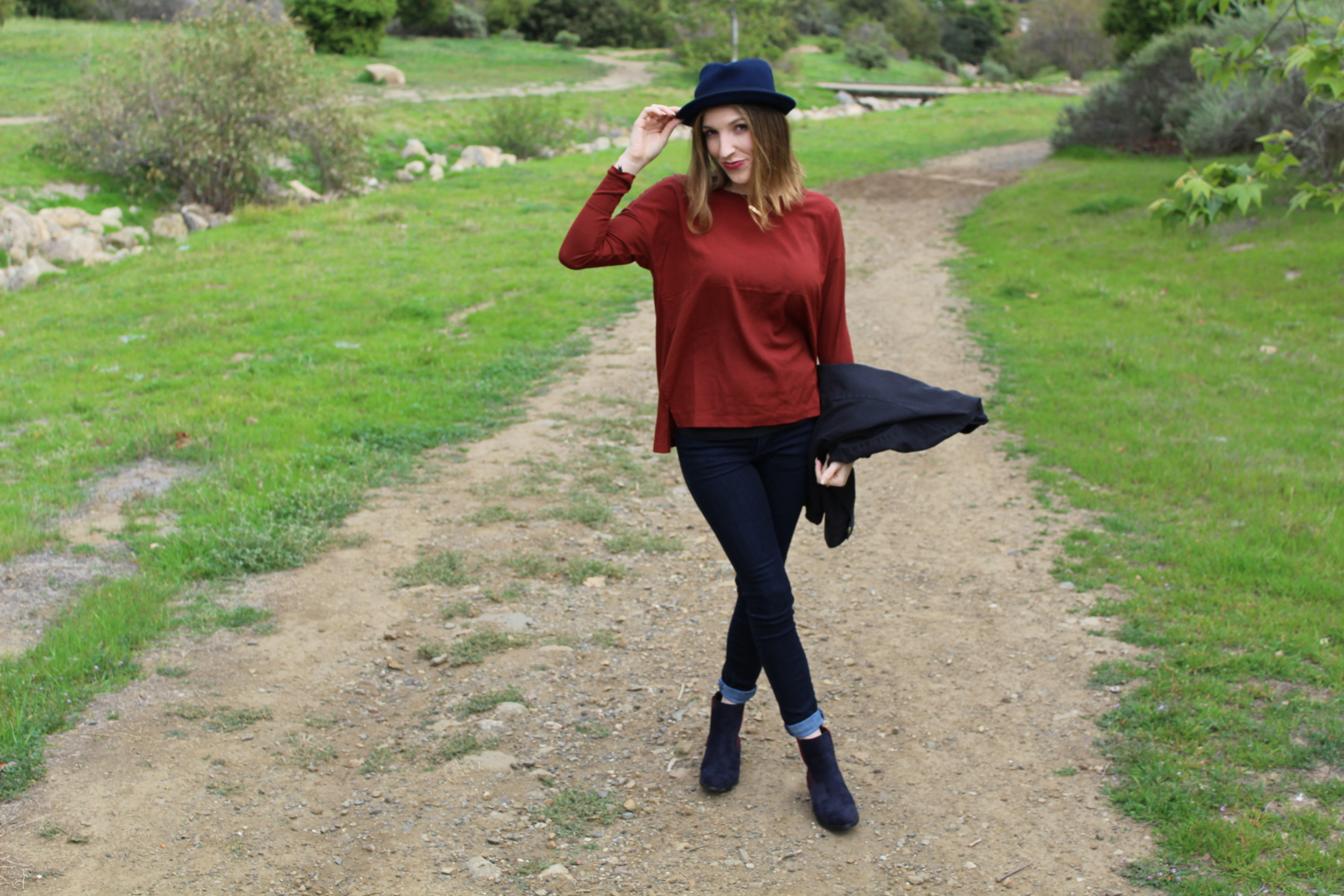 Here is a more casual look than most of the outfits I have been posting. Although it is essentially just jeans and a top, I think the colors paired really nice together. The red is a darker shade and of course we all know navy is a dark shade of blue, so these two meshed well together.