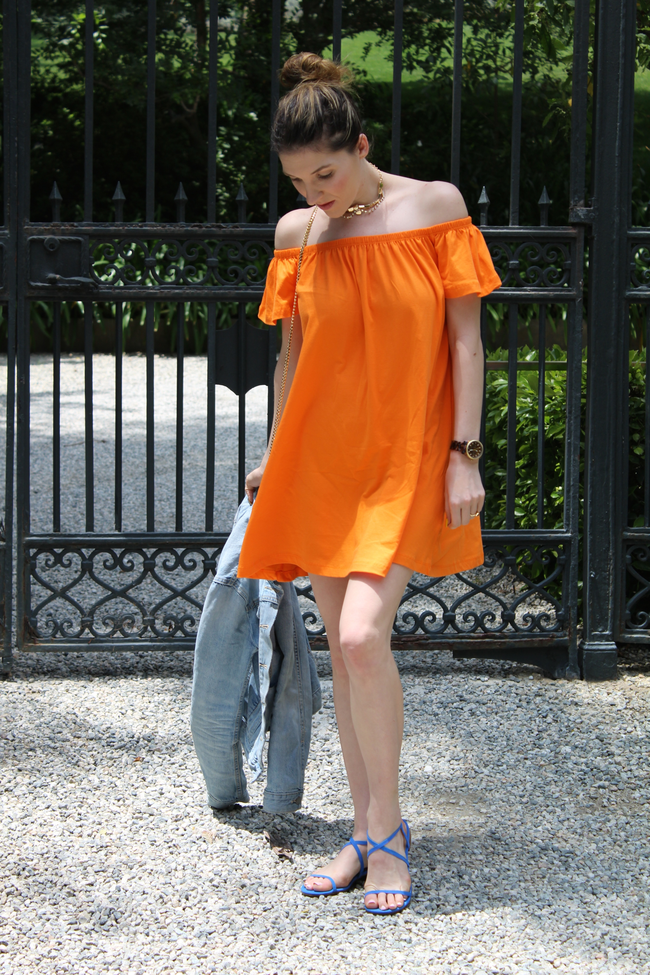 Everyone should know by now how much I love color! Pairing this bright orange dress with these bright blue shoes was right up my alley. I love the color combo and I think it sums up my style perfectly.
