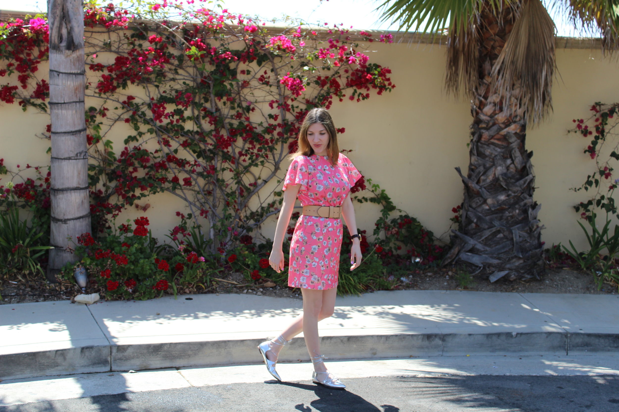 Dress:  Asos , Belt:  Banana Republic , Shoes:  Banana Republic   Happy Wednesday!!! This is a fun look I wore the other day while hanging out with my brother. The dress is super soft and comfy and perfect for the spring. The lace up flats are right on trend and complemented the silver blue hues of the flowers on the dress. The dress is actually a shift dress, so I belted it with a wide belt that I feel really tied the whole look together. I think this look is really cute and yet so easy to create! I love it! Thanks for stopping by!  Keep following for more new looks!!! Ciao!