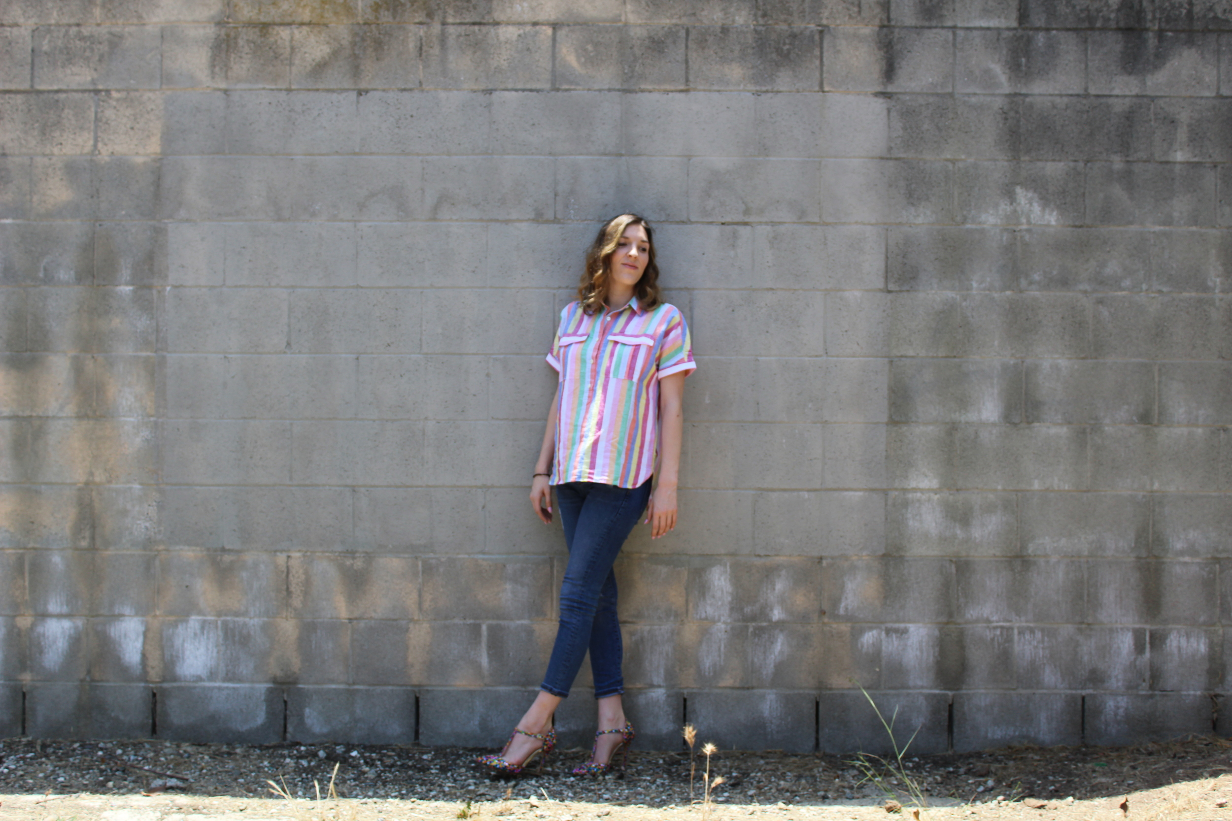 Top:  J.Crew  // Denim: Banana Republic, similar  here  // Shoes: Liliana, similar  here   Sorry for missing my usual Friday post, I was severely under the weather. Anyways on a brighter note( literally), I am slightly obsessed with this outfit! I love how bright and cheerful it is! I am a huge advocate of color and I love mixing the stripes with the geometric print of the heels. Thanks for stopping by!  Keep following for more new looks!!! Ciao!