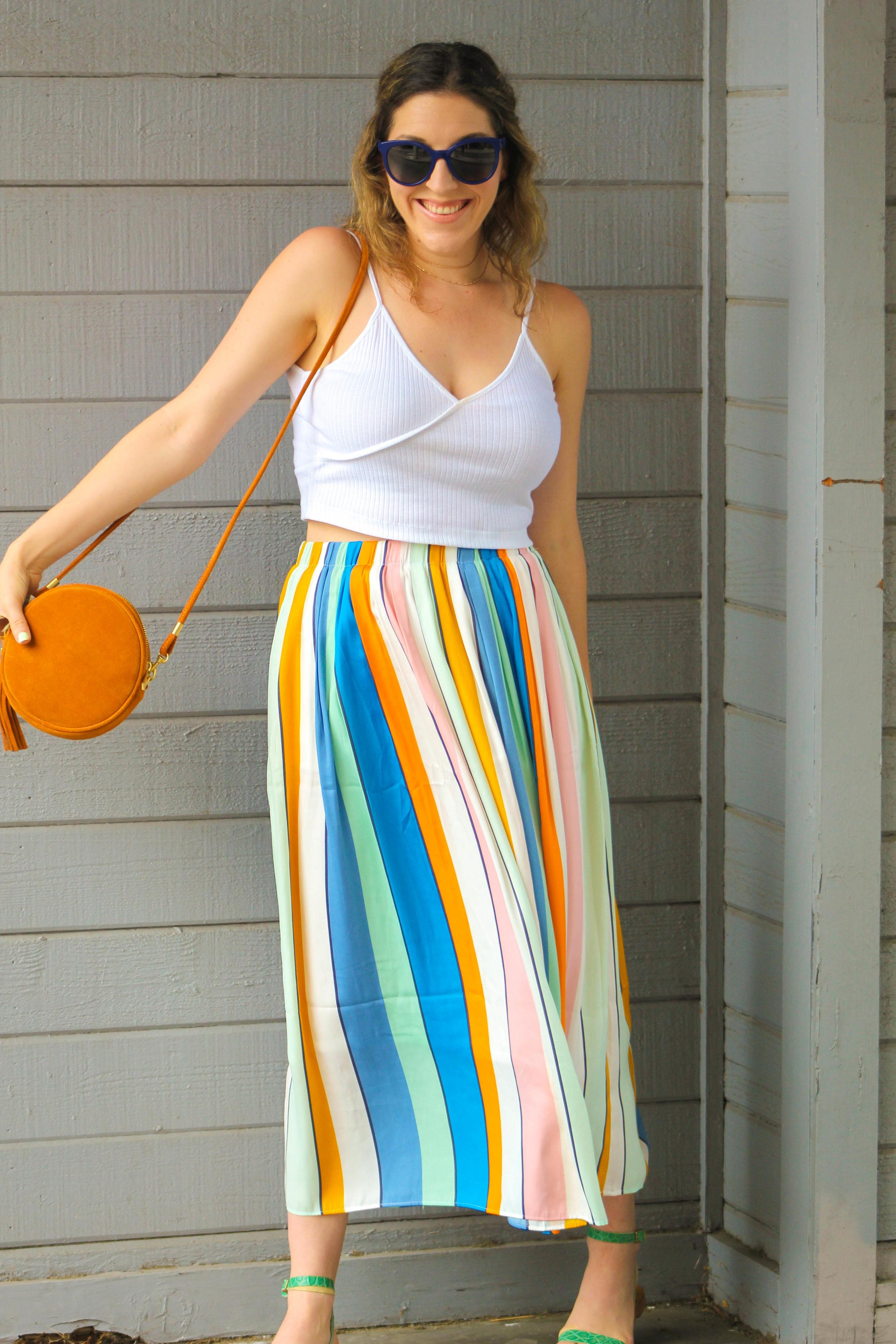 Top :  Topshop  //  Skirt :  Loft  //  Sandals : Kate Spade, similar   here   //  Purse : F21, similar   here   //  Sunnies :  Chanel