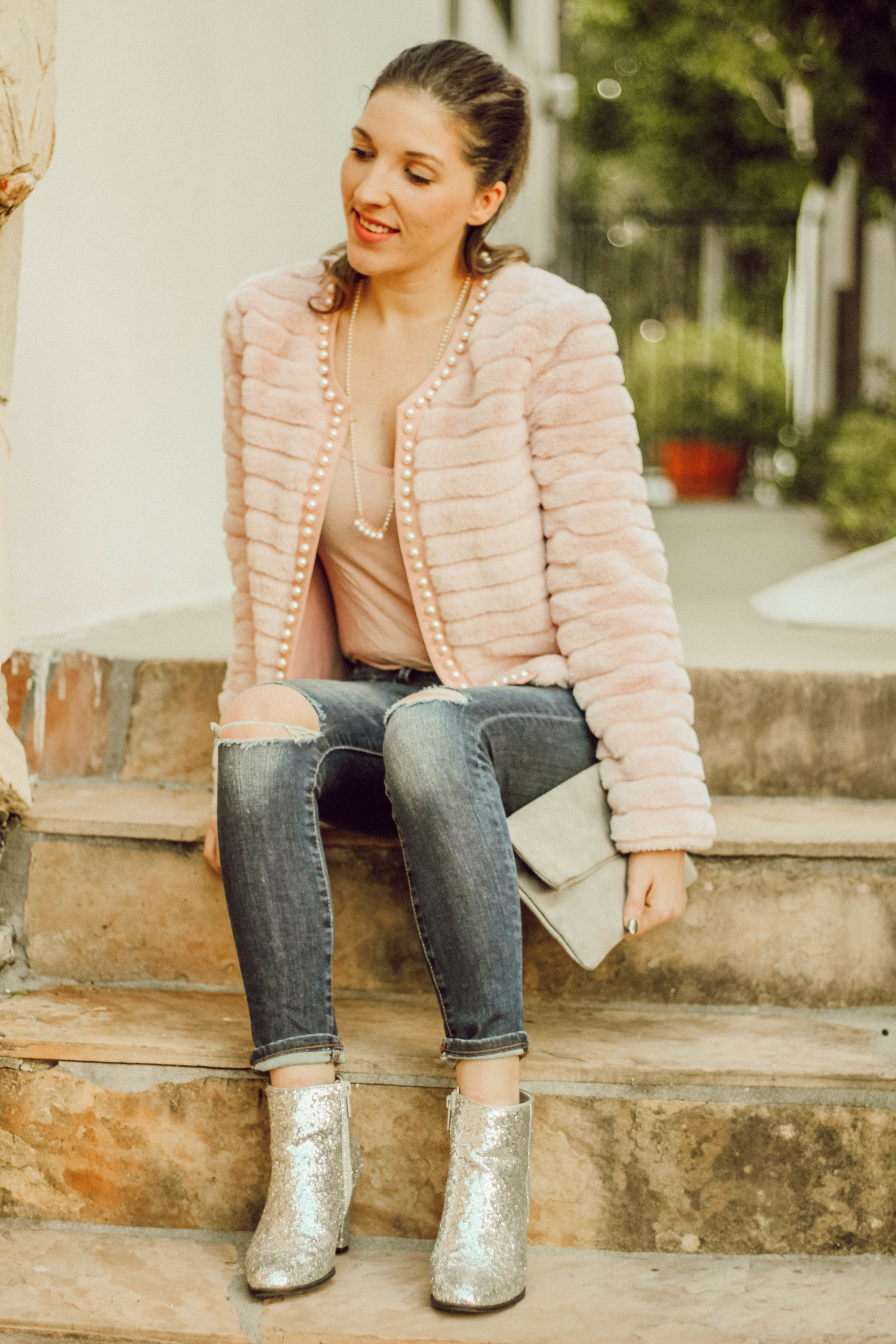 Coat:   Shein   // Jeans:   BR   // Top:   Asos   // Boots: similar   here   // Purse: similar   here   // Necklace: similar   here