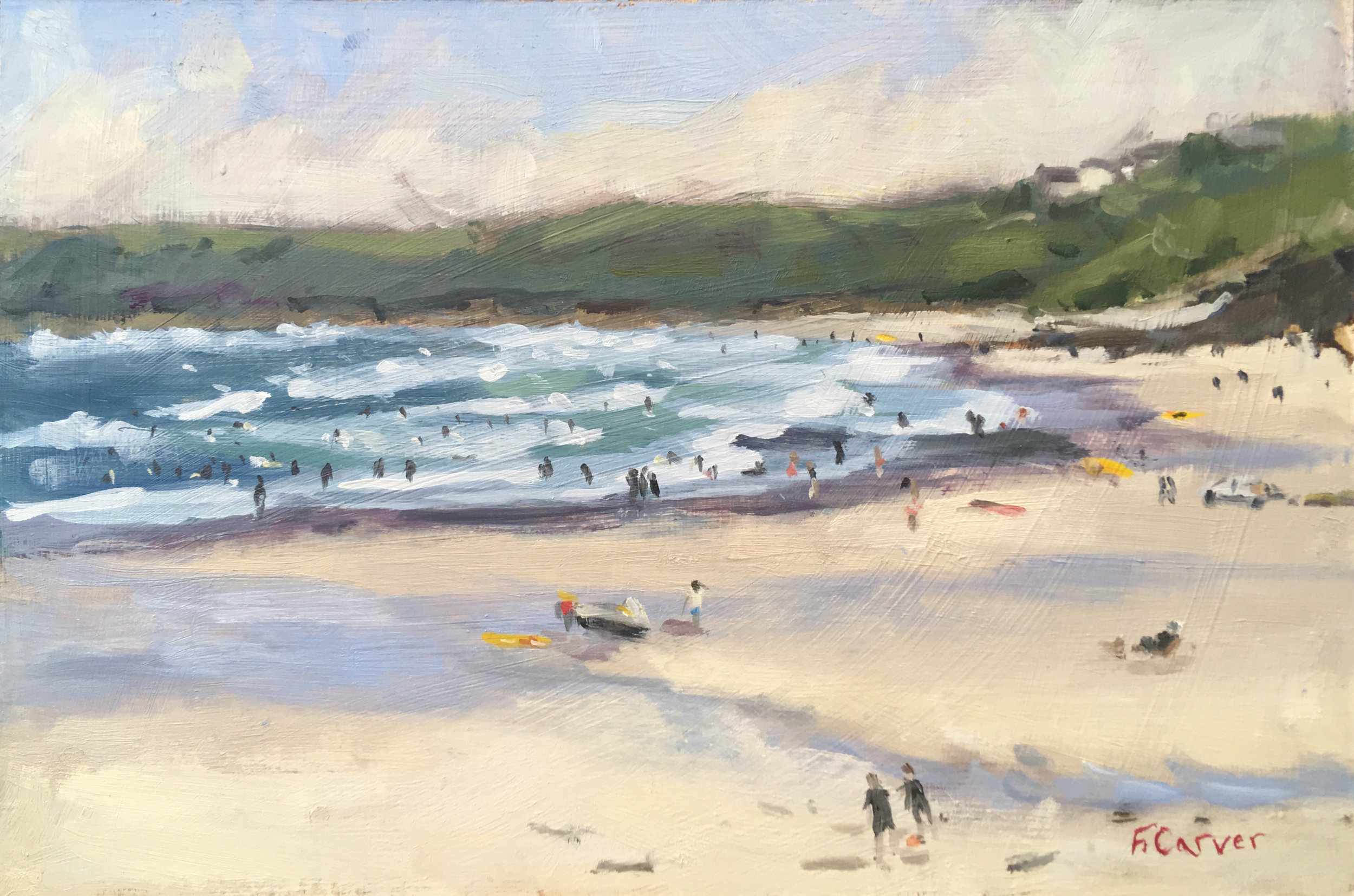 'Surfing at Sennen'  Available at Wychwood Art Gallery