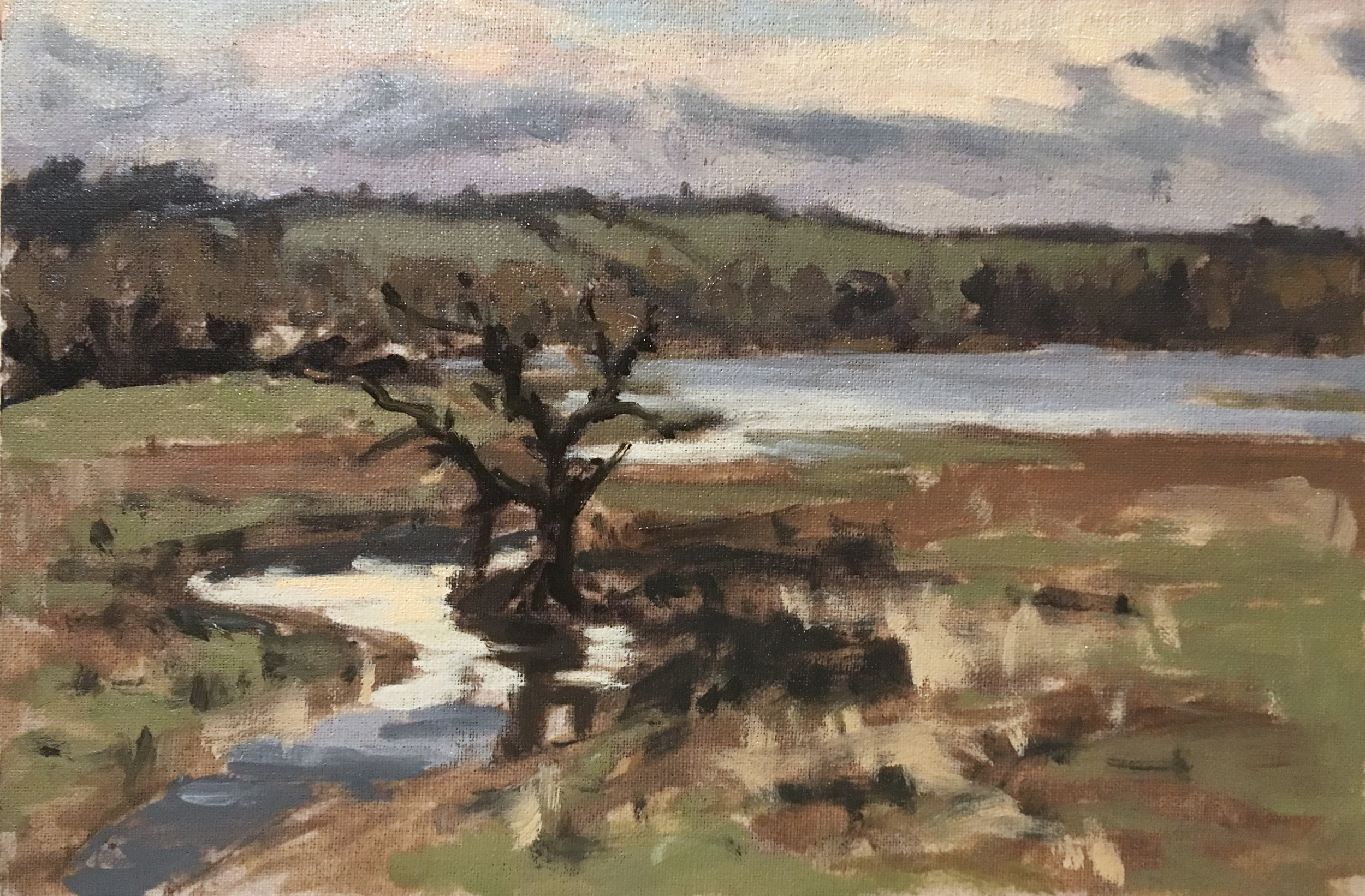 """'Winter Afternoon at the Eyebrook' 12"""" x 8"""" oil on linen"""