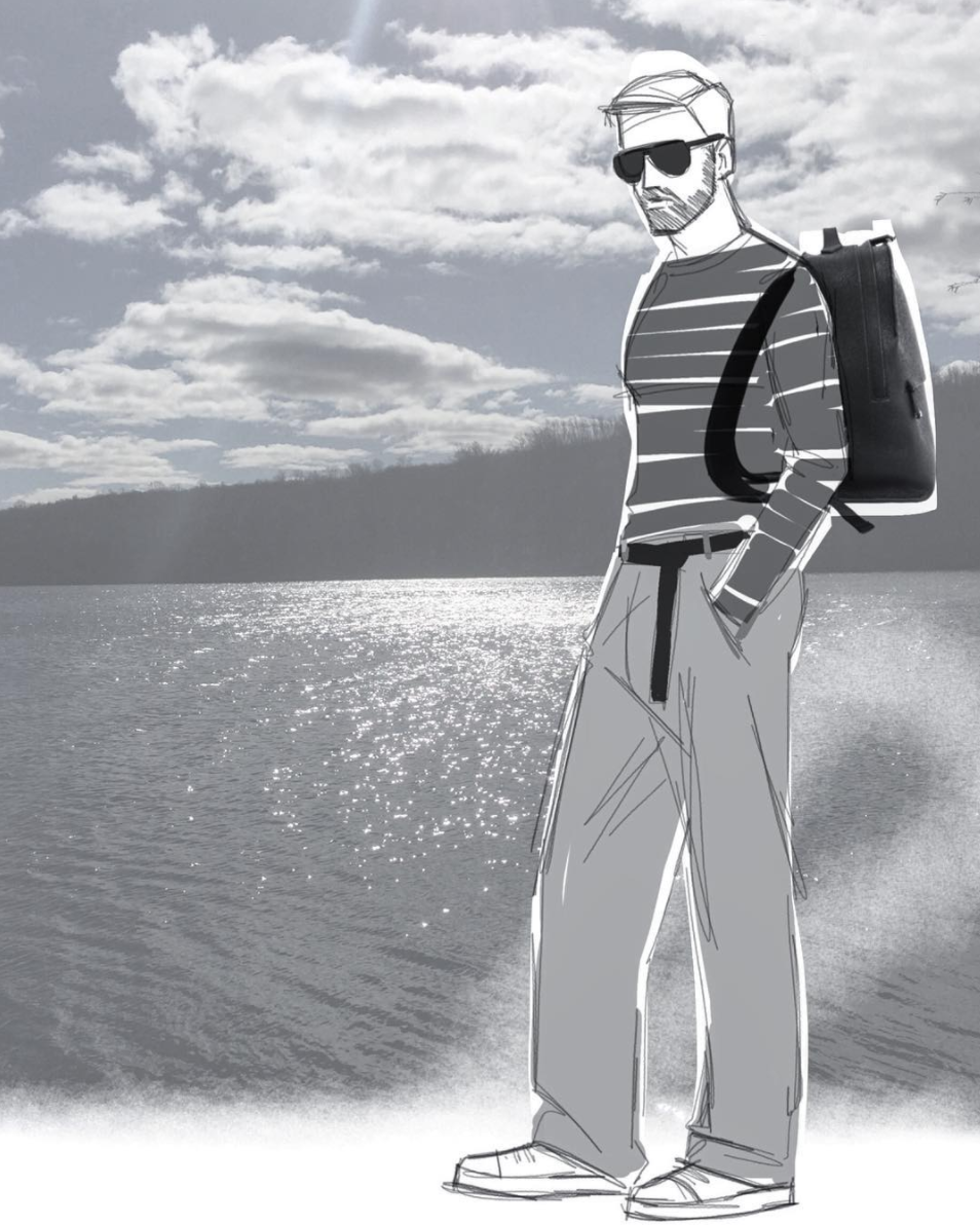 Grey New York Grey New England - Backpack Sketch by Simon Kneen