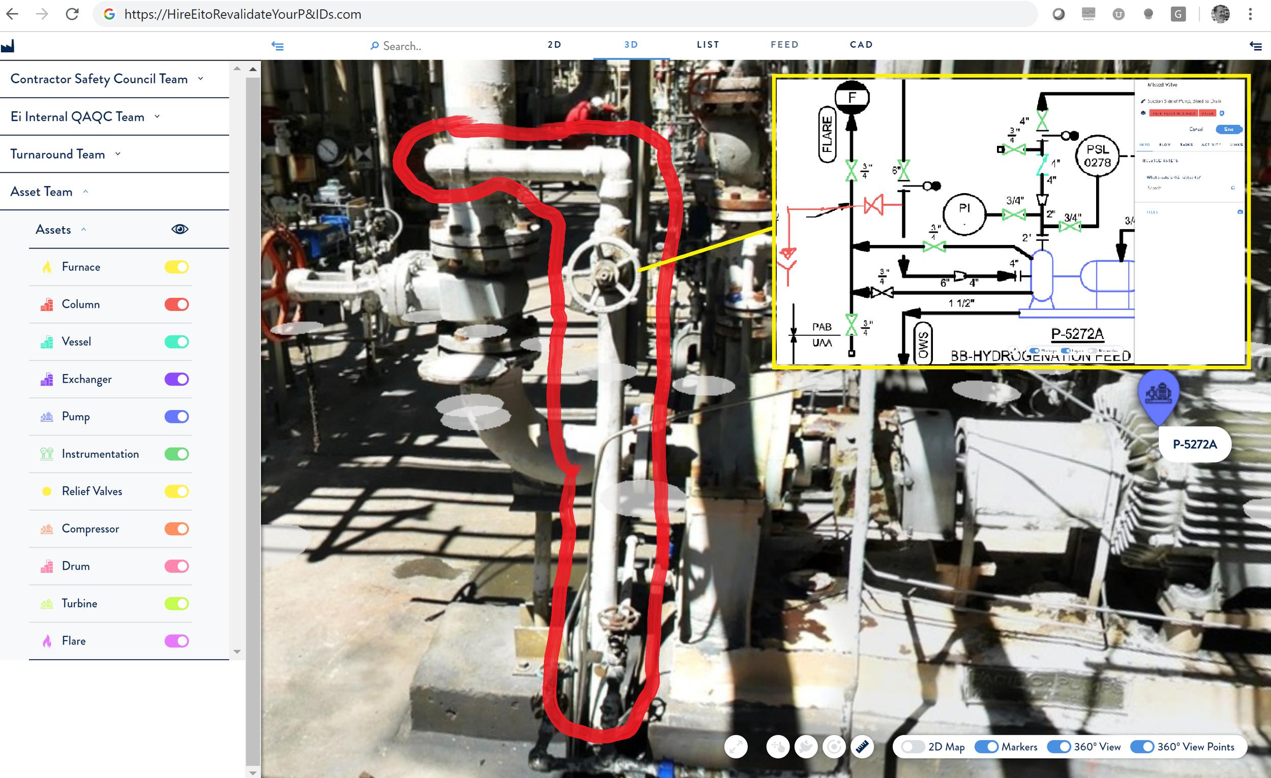 Ei's Web-Based 3D Portal used for P&ID Revalidation