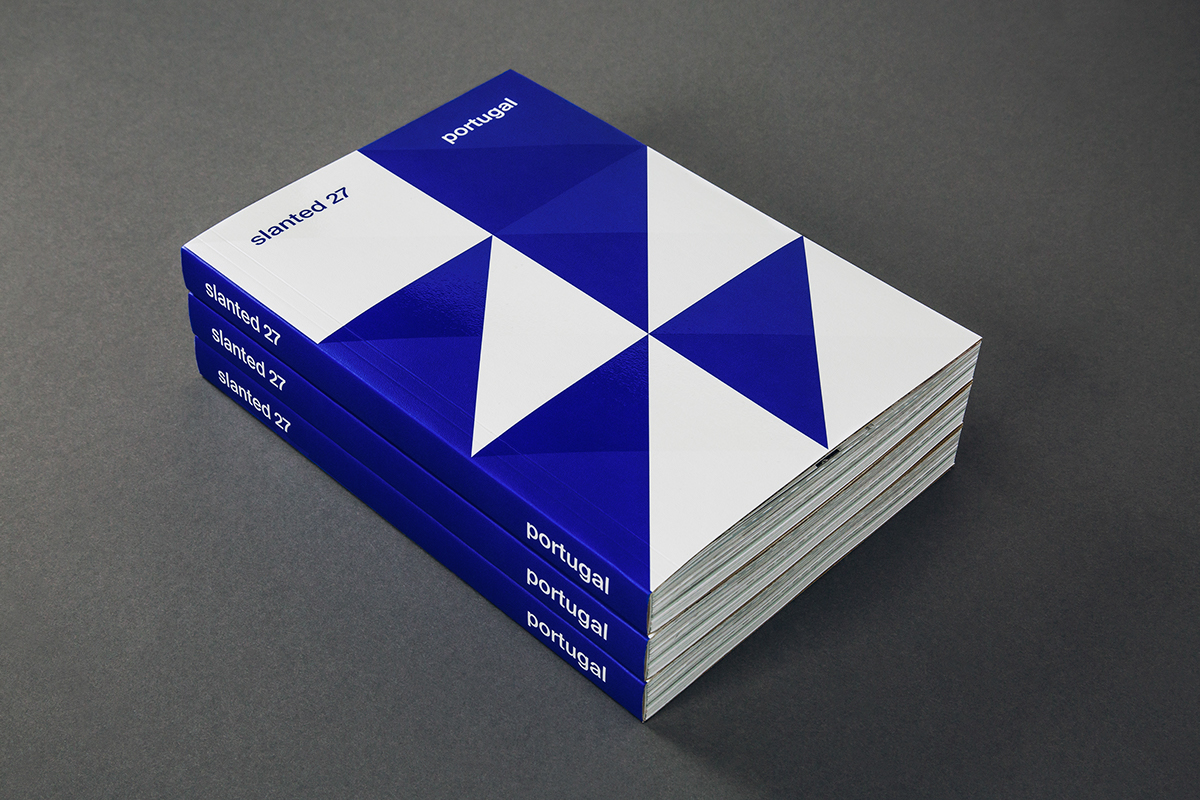 Slanted Magazine #27 - Portugal by Slanted Publishers -- Pay attention to the repetition on this cover. Where is there a lack of repetition? The top. Why? Maybe because that makes the top of the cover stand out from the rest of the design which, in turn, draws focus to it.